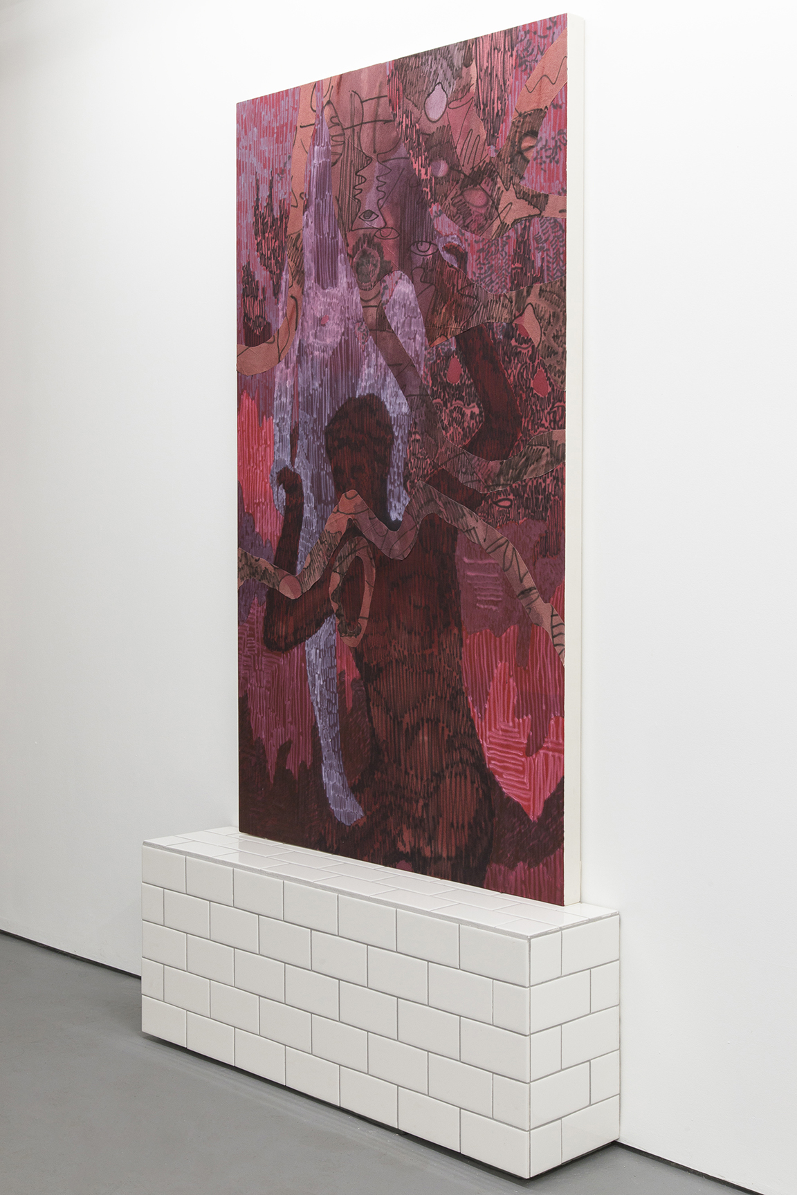 It could be easier together, 2015, 38 x 60 inches, acrylic on cotton. Tile stand, wood and ceramic tiles.
