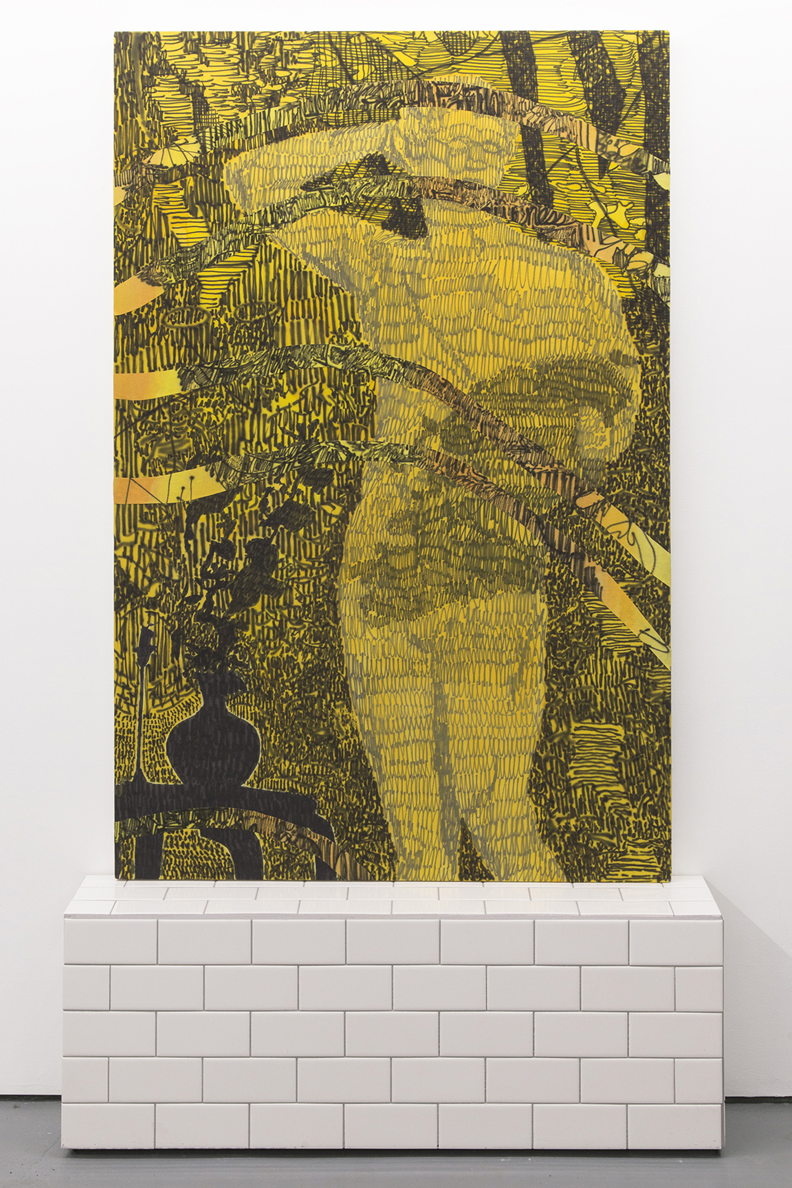 Himself being here, 2015, 38 x 60 inches, acrylic on cotton. Tile stand, wood and ceramic tiles.