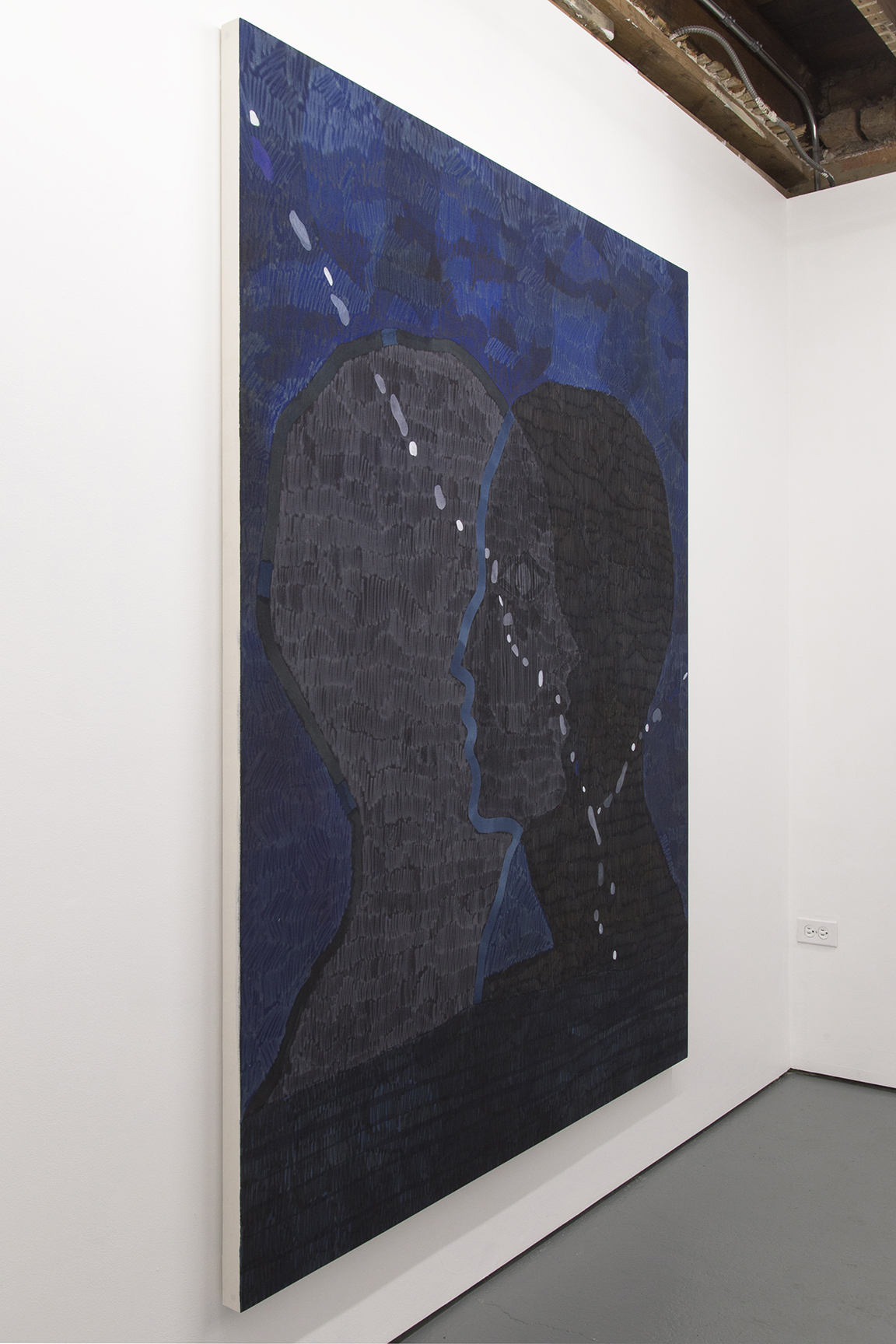 Blue crossover, 2015, 56 x 72 inches, acrylic on cotton.