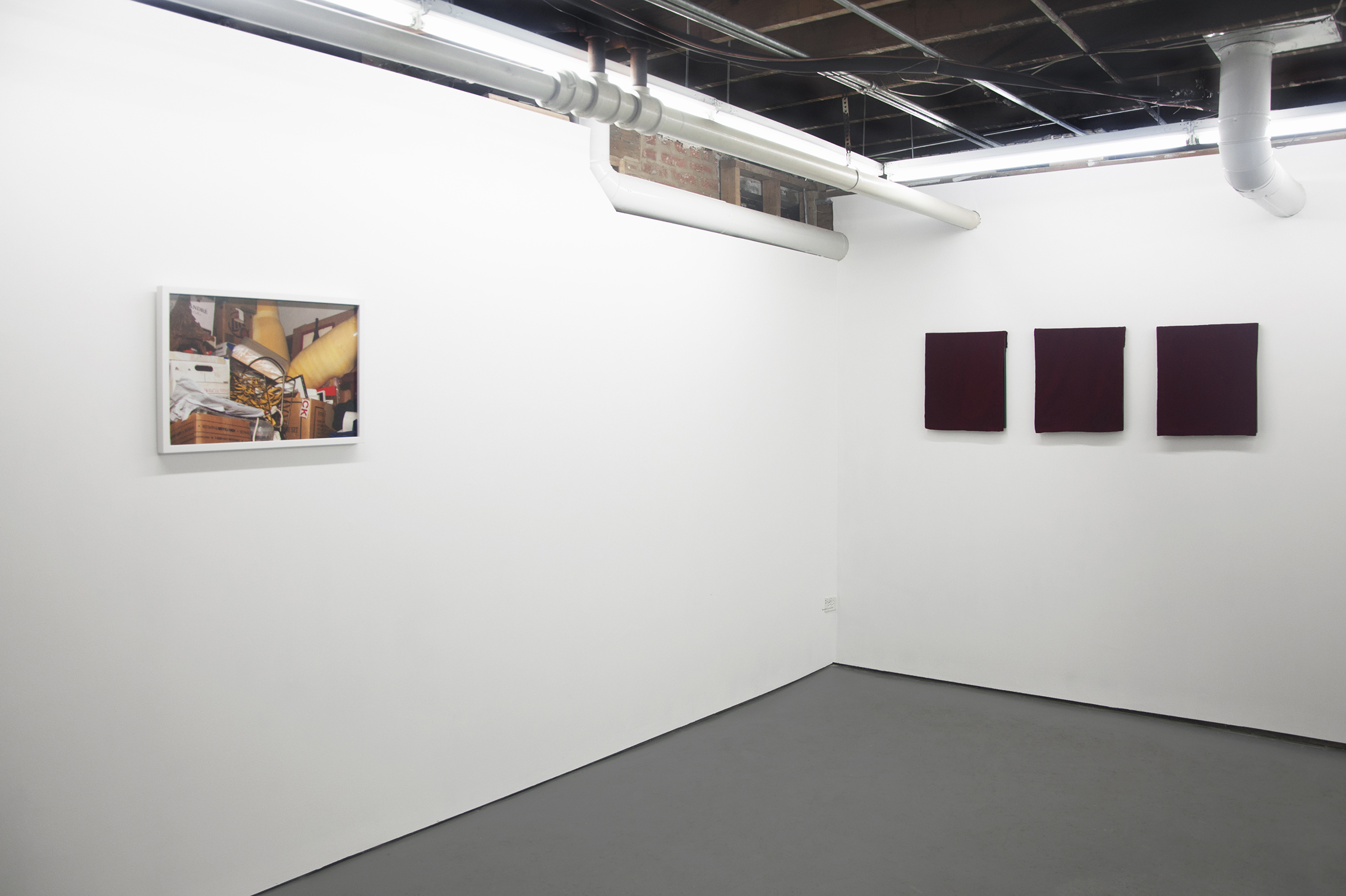 "Frontward Tilt (from left to right), Ramsey Alderson, ""Untitled"", 2015, Photograph; Jeremy Biles, ""Ariadne's Thread"", 2015, digital print with graphite and wax crayon on newsprint with velvet veil; Jeremy Biles, ""The Sensation of Time"", 2015, digital print with graphite, colored pencil, and collage on newsprint with velvet veil; Jeremy Biles, 2015, ""Mirror of Tauromachy"", digital print with graphite, colored pencil, and semen on newsprint with velvet veil."