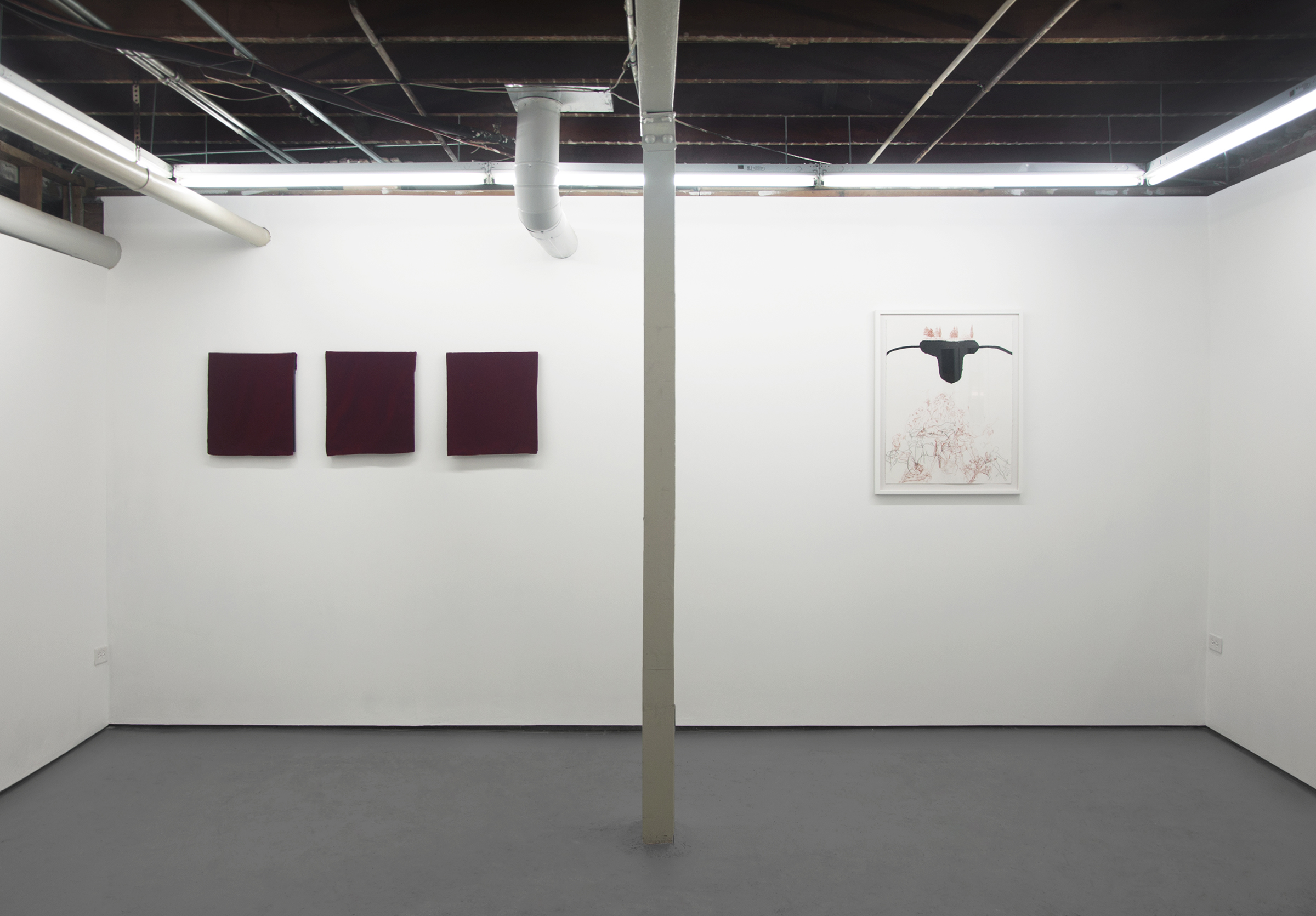 "Frontward Tilt (from left to right), Jeremy Biles, ""Ariadne's Thread"", 2015, digital print with graphite and wax crayon on newsprint with velvet veil; Jeremy Biles, ""The Sensation of Time"", 2015, digital print with graphite, colored pencil, and collage on newsprint with velvet veil; Jeremy Biles, 2015, ""Mirror of Tauromachy"", digital print with graphite, colored pencil, and semen on newsprint with velvet veil; Rebecca Walz + Ryan M. Pfeiffer, 2015, ""The Annunciation"", Chalk Lead & Charcoal."