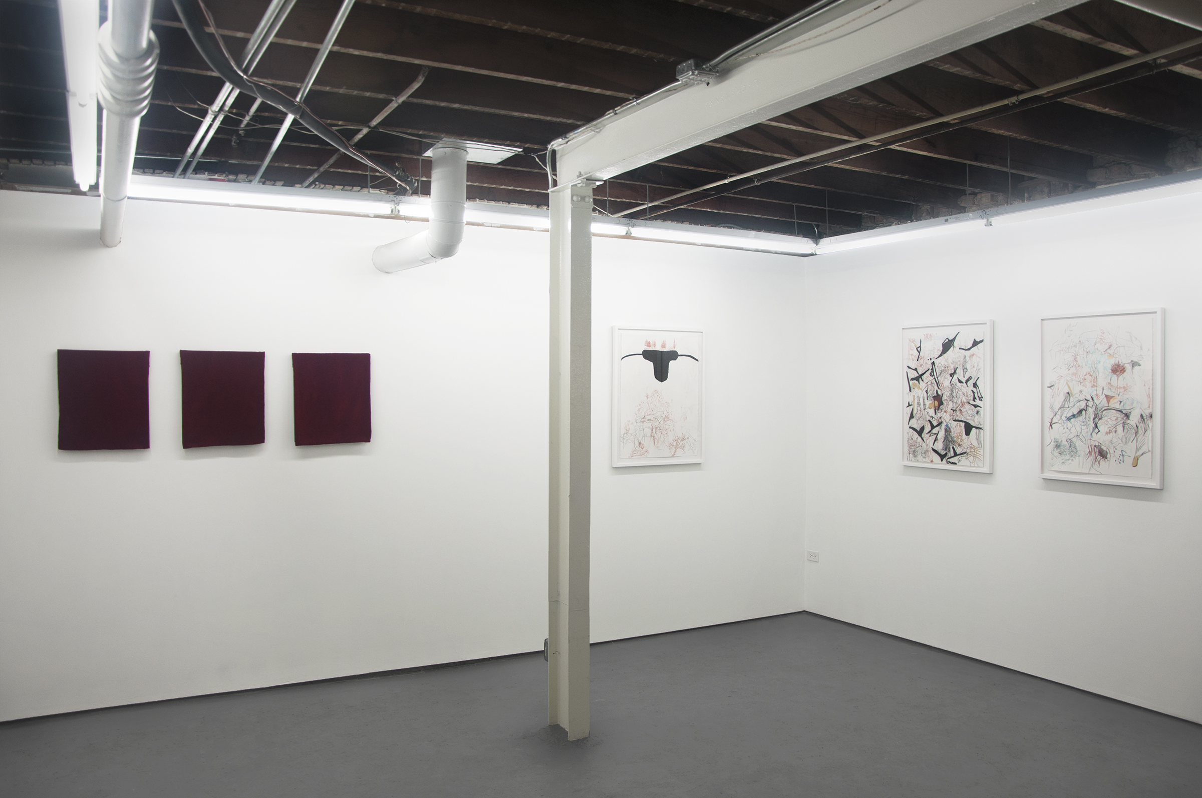 "Frontward Tilt (from left to right), Jeremy Biles, ""Ariadne's Thread"", 2015, digital print with graphite and wax crayon on newsprint with velvet veil; Jeremy Biles, ""The Sensation of Time"", 2015, digital print with graphite, colored pencil, and collage on newsprint with velvet veil; Jeremy Biles, 2015, ""Mirror of Tauromachy"", digital print with graphite, colored pencil, and semen on newsprint with velvet veil; Rebecca Walz + Ryan M. Pfeiffer, 2015, ""The Annunciation"", Chalk Lead & Charcoal; Rebecca Walz + Ryan M. Pfeiffer, ""The Labyrinth"", 2015, Graphite, Chalk Lead, Colored Pencil, Charcoal, Iron Oxide & Gold Leaf; Rebecca Walz + Ryan M. Pfeiffer, ""The Adjustment"", 2015, Graphite, Chalk Lead, Water Color, Colored Pencil, Charcoal & Gold Leaf."