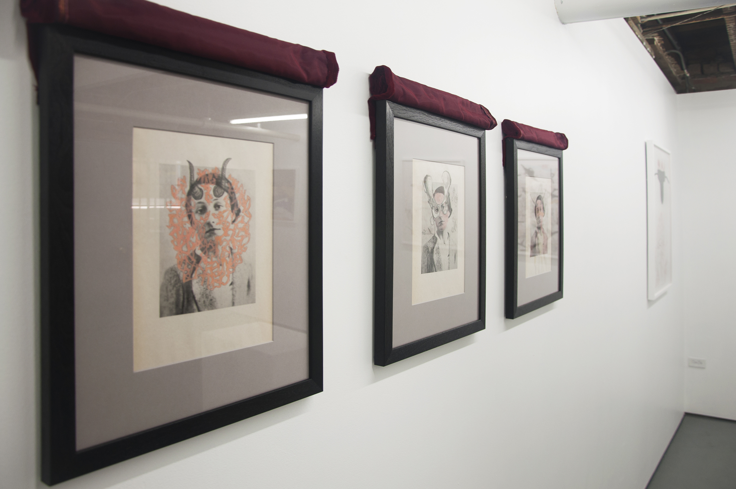 "Frontward Tilt (from left to right), Jeremy Biles, ""Ariadne's Thread"", 2015, digital print with graphite and wax crayon on newsprint with velvet veil; Jeremy Biles, ""The Sensation of Time"", 2015, digital print with graphite, colored pencil, and collage on newsprint with velvet veil; Jeremy Biles, 2015, ""Mirror of Tauromachy"", digital print with graphite, colored pencil, and semen on newsprint with velvet veil."