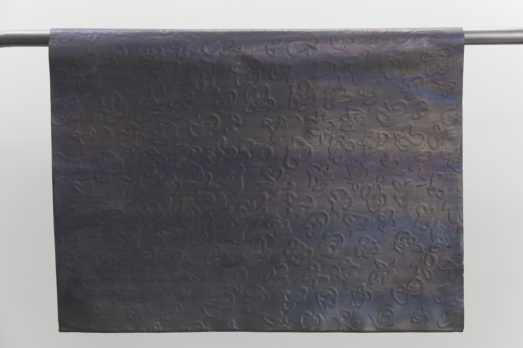 intimacy as a rule of thumb is registered, 2016, embossed lead sheets, steel.