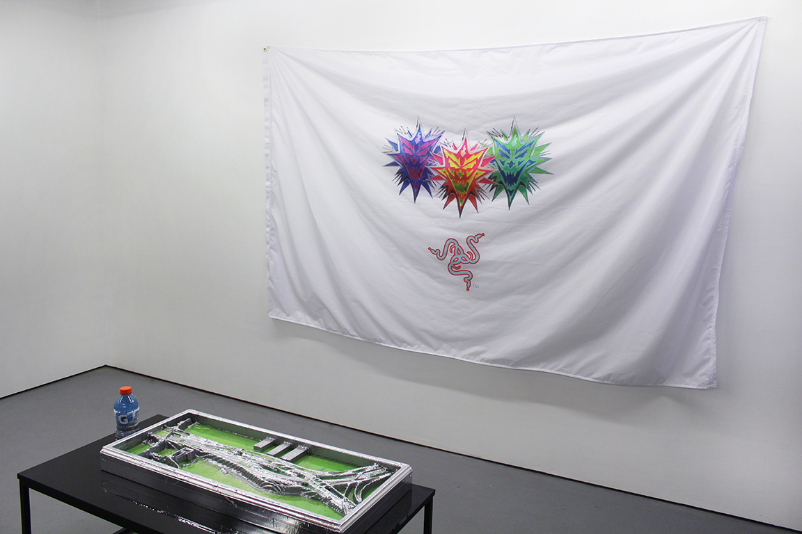 Flag, 2016, nylon, ink, grommets. Tentacles Longer Than Night (3), 2016, polyurethane insulation foam, epoxy, enamel, acrylic, steel.